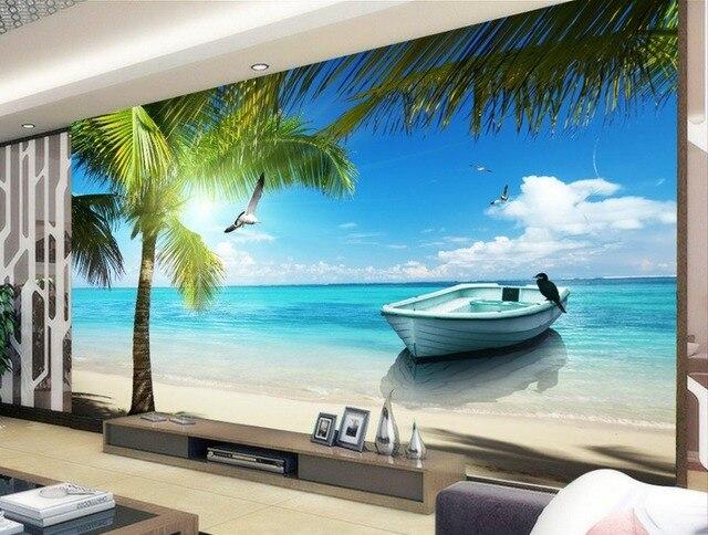 3d carta da parati Maldive beach mare albero paesaggio di soggiorno ...