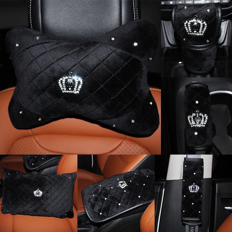 Winter Crown Crystal Car Seat Headrest Pillow Plush Auto Neck Waist Support Pillows Gear Hand Brake Case Seat Belt Cover Sets