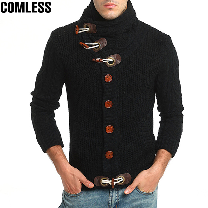 Mens Cardigans Sweater 2017 High Collar Long Sleeve Thick Cardigan Sweater Men Horn Button Fashion Design Mens Winter Sweater