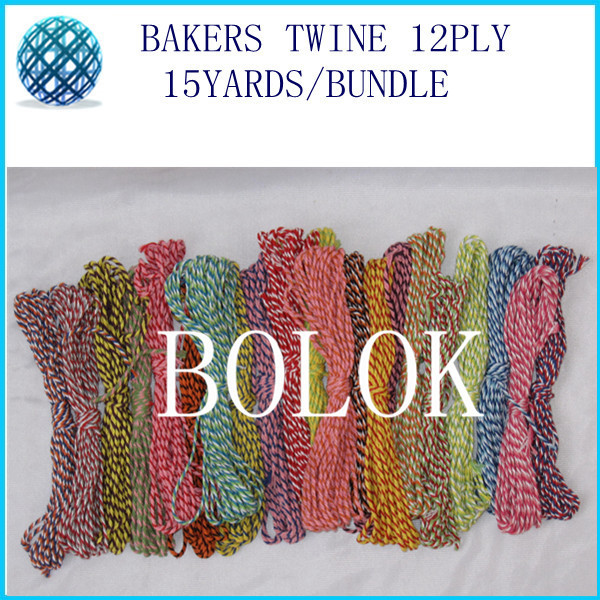 free shipping 12pcs/lot baker twine 12ply 15yards/bundle divine twine used in wrapping tag, gift cards 42 color wholesales