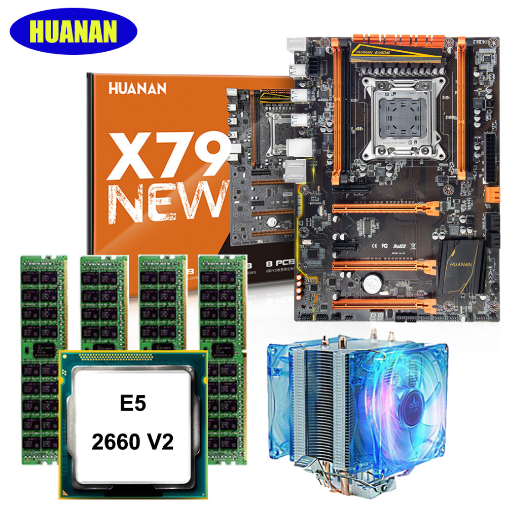 Hot HUANAN X79 deluxe gaming motherboard CPU RAM with cooler Xeon E5 2660 V2 RAM 16G(4*4G) DDR3 RECC building perfect computer