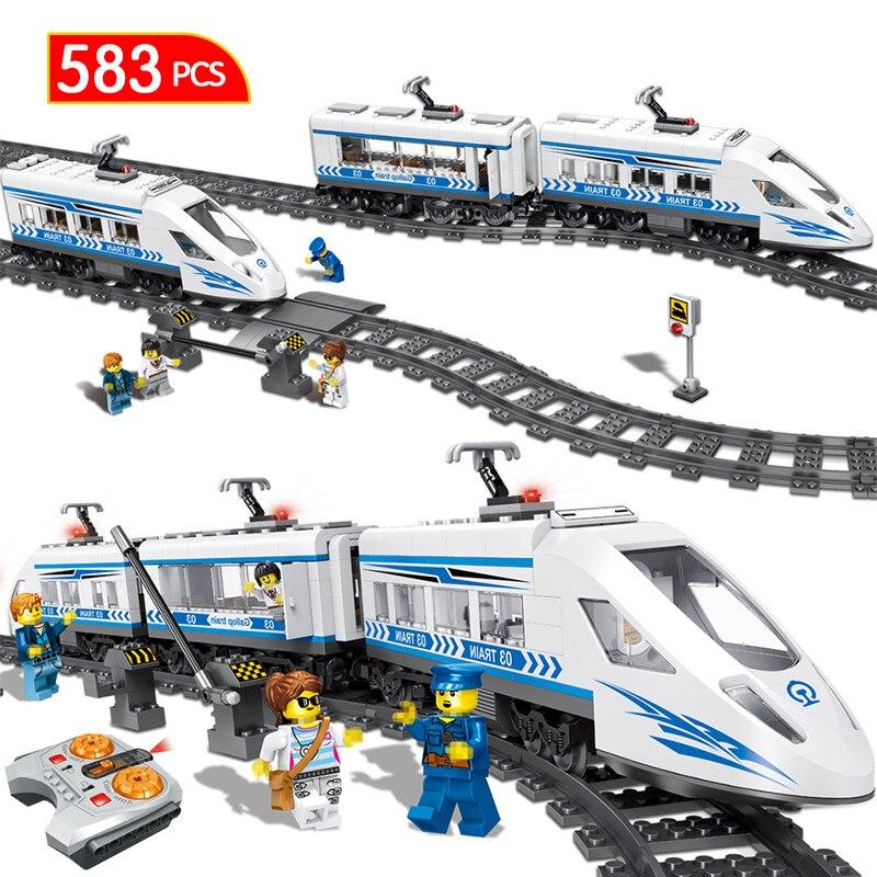 583 pièces Ville Télécommande Blocs de Construction De Chemin De Fer Compatible LegoINGLYS RC Gare Technique Blocs Jouets Pour Enfants Garçons
