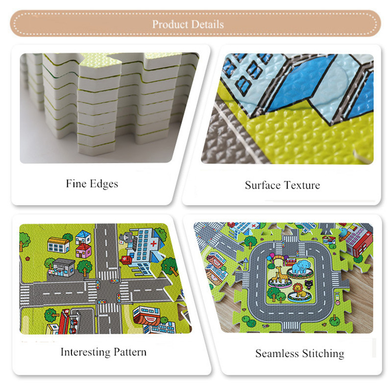 pcs set Baby Gym EVA Foam Mat Puzzles Baby Mat Play Floor Carpet Kids City Road