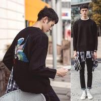 2017 Лидер продаж Повседневное хлопок o образным вырезом полный Для мужчин свитер sudaderas новый зимний ветер свободные плечо Длинные рукава сви