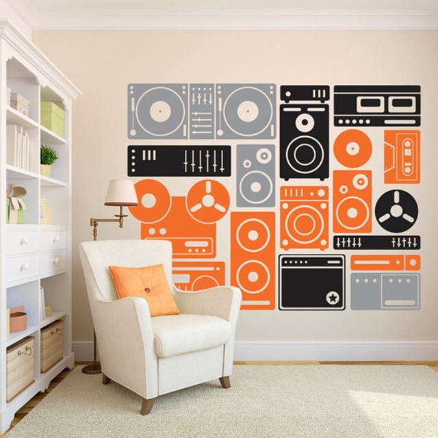 200x155cm extra large music equipment wall art decor stickers