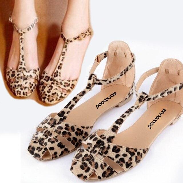 Горячая лучшие Для женщин летние модные пляжные повседневные сандалии обувь на плоской подошве с леопардовым рисунком