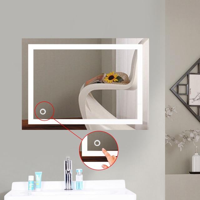 Wall Mount Led Lighted Bathroom Mirror Vanity Defogger 2 Vertical Lights Rectangular Touch Light Mirror Hwc