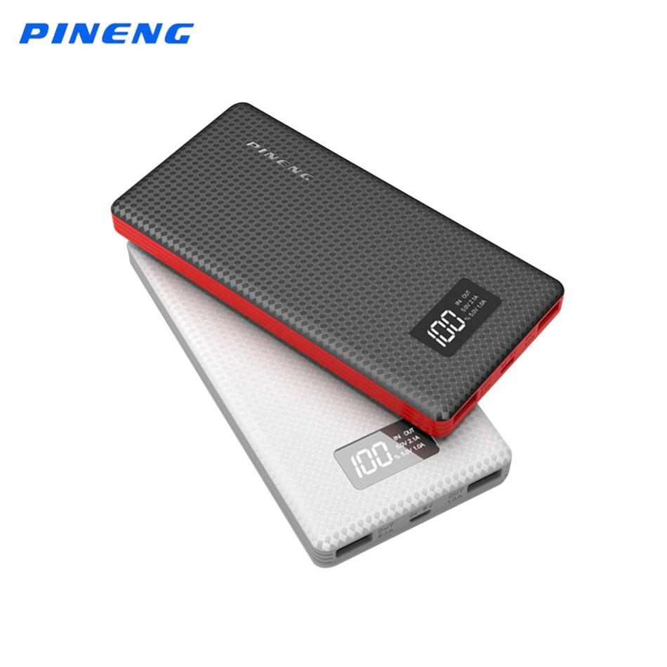 imágenes para Original Pineng Banco Pover PN-963 10000 mAh Li-polymer Batería Pantalla LCD Dual USB Powerbank Cargador Portátil para Oneplus5 Mi