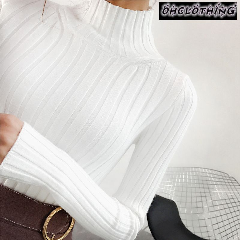 2019 White Turtleneck Sweater And Semi Small Fresh Female Short Thick Slim Tight Long Sleeved All-match Knitted Shirt