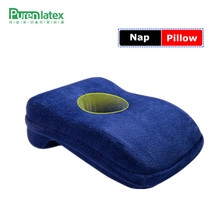 PurenLatex 37*25*12 Cervical Memory Foam Noon Nap Pillow Office Table School Desk Cushion Slow Rebound Air Breathable With Hole(China)