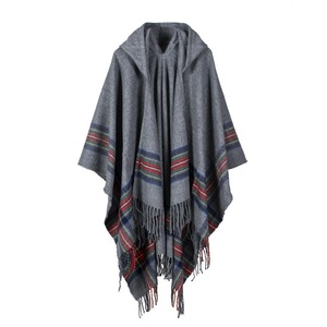 Image 4 - New design 100% ACRYLIC foulard femme Autumn / Winter warm fashion cloak poncho 130*150CM Black/Gray/Wine Red/Khaki tippet shawl