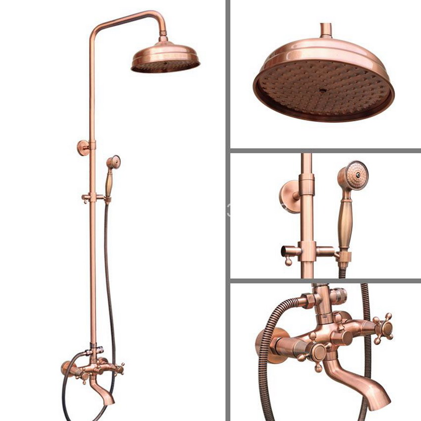 Antique Red Copper Rainfall Shower Head Bathroom Rain Shower Faucet Set Wall Mounted Dual Cross Handles Levers arg511 gappo classic chrome bathroom shower faucet bath faucet mixer tap with hand shower head set wall mounted g3260