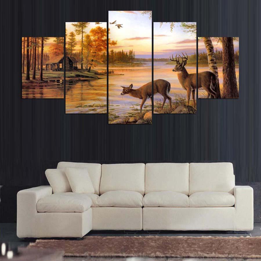 Modular Marcos HD Sala 5 panel Deer paisaje pintura arte de la pared decoración del hogar lienzo moderno impreso fotos