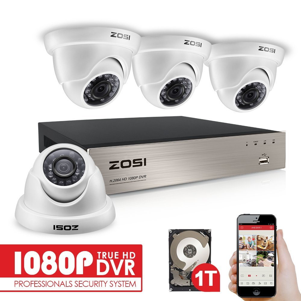 ZOSI 4CH FULL TRUE 1080P HD TVI DVR Recorder HDMI With 4X 1980TVL Indoor outdoor Surveillance Security Dome Camera System 1TB