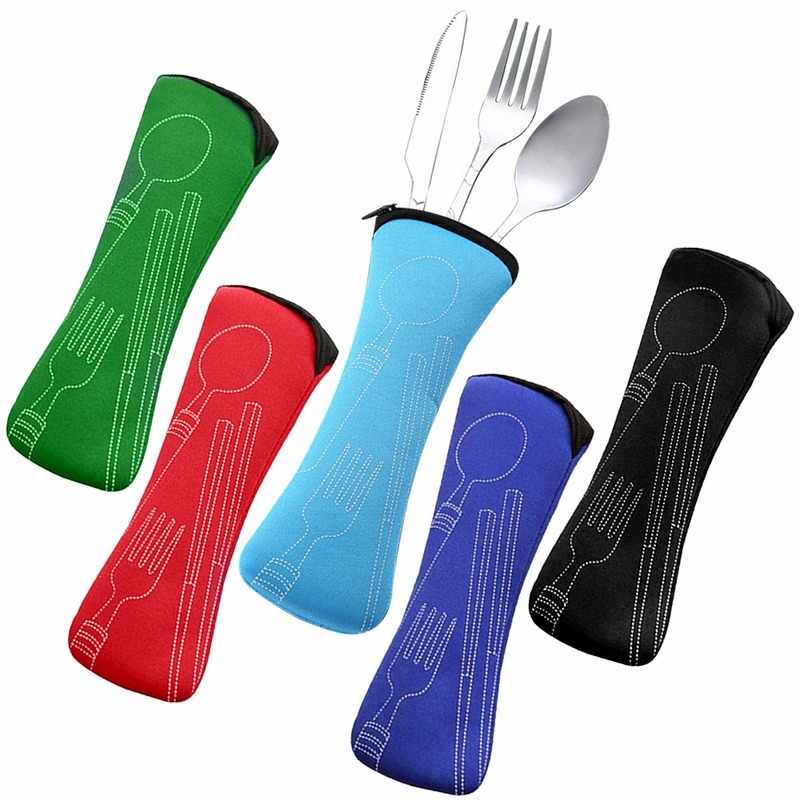 Hifuar 3Pcs/set Portable Stainless Steel Cutlery Set Flower Painting Fork Dinner Tableware Set Tableware Case Kit For Camping