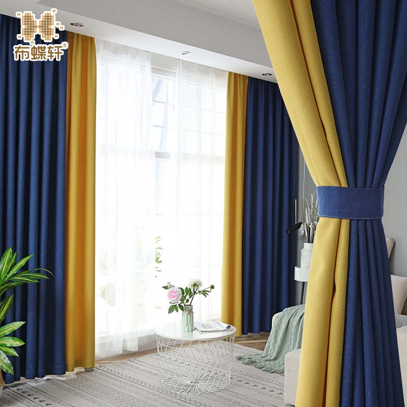 Nordic Simple Style High Shading Stitching Fabric Blue Yellow 20% Linen Curtains For Living Room Bedroom Customized Size