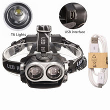 Elfeland 9000Lm 2x T6 LED Rechargeable Headlamp Headlight Head Torch USB 18650