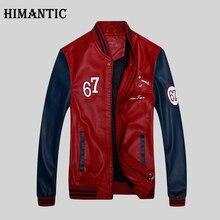 Himantic человек модная кожаная куртка лоскутное молния jaqueta de couro Вышивка Стенд воротник брендовая одежда мужская куртка-пилот(China (Mainland))