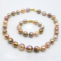 2016 New Fashion 100%Natural Baroque Pearl Jewelry Necklace,Bracelet 10-12 MM Pearl Heavy Gold Plated For Women Best Gift