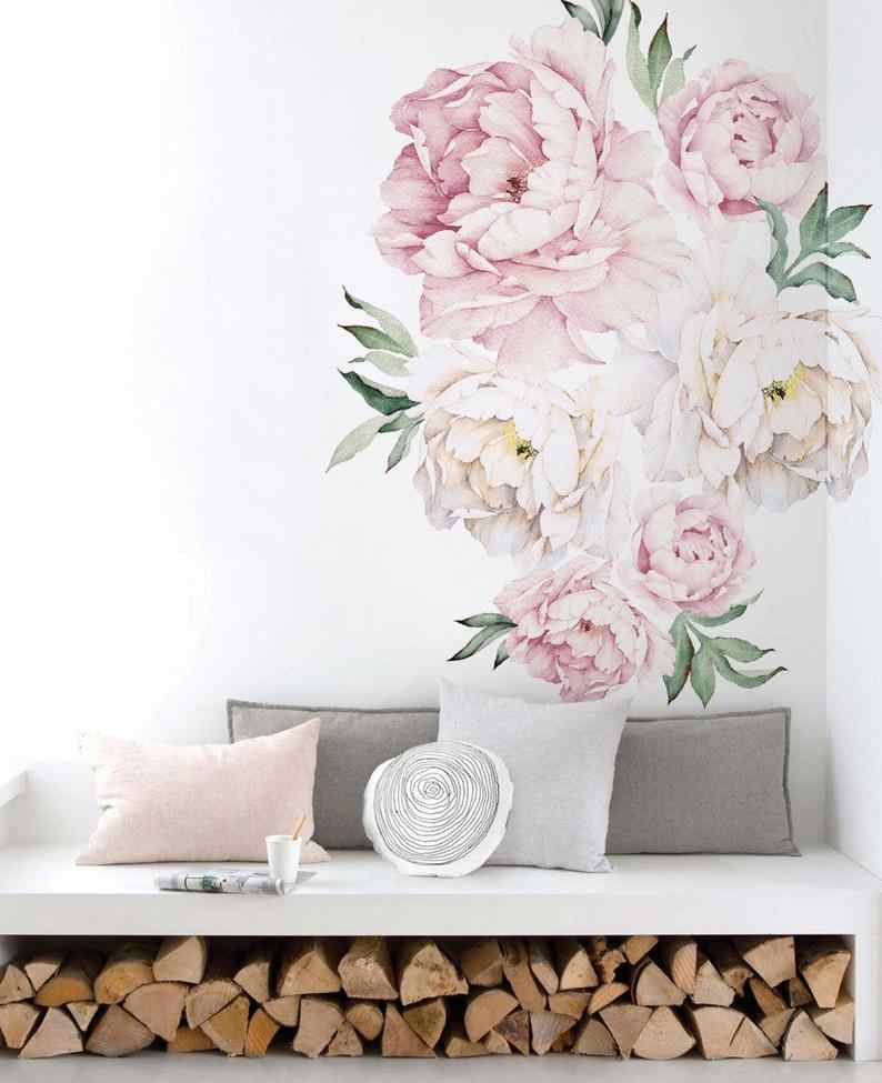 Peony Flowers Wall Sticker Vintage Watercolor Peony Wall Stickers Peel and Stick Removable Stickers room decor room decoration