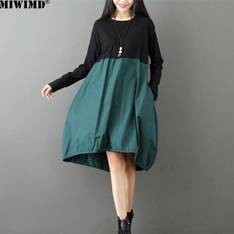 2018 nueva moda Otoño Invierno mujeres manga larga contraste algodón irregularidad costura vestidos flojos ocasionales tamaño grande