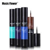 Musique fleur noir mat & coloré 2 en 1 imperméable liquide Eyeliner stylo maquillage rapide sec lisse longue durée charme yeux Liner
