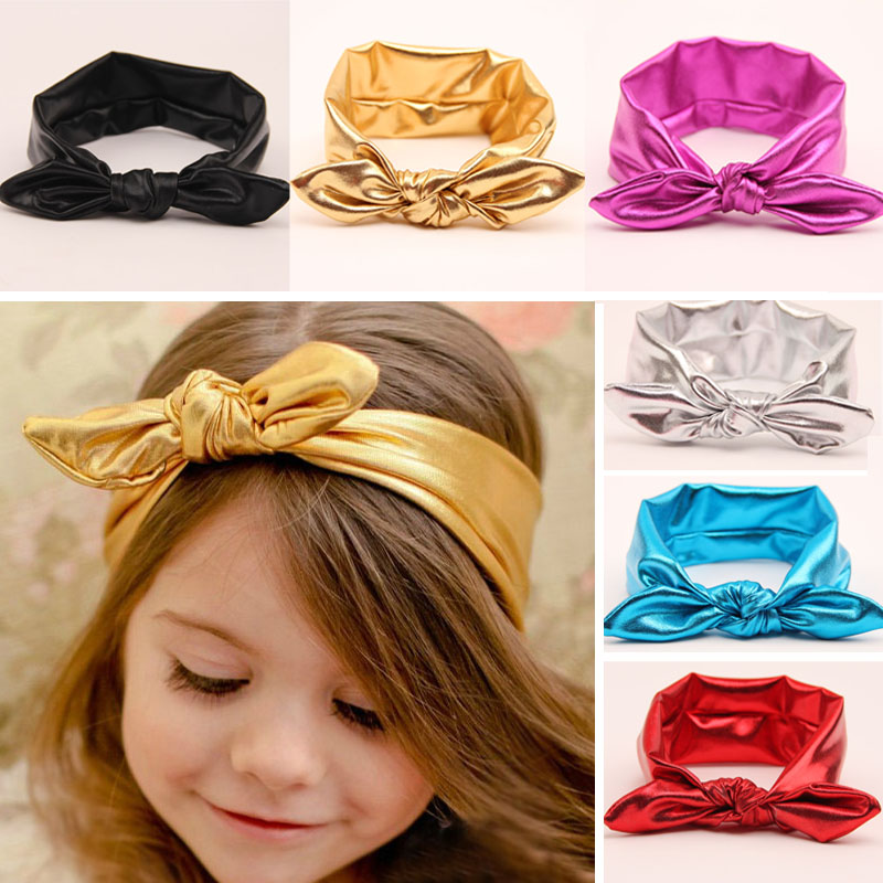 Coll Gold Newborn Hair band Brilliant Knot Rabbit ears Elasticity Headwear Kids Turban scrunchy Hair Accessories EASOV T15