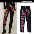 Features 3D color three-dimensional embroidery roses new women's fashion loose jeans big popular straight pants