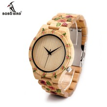 BOBO BIRD Luxurious Bamboo Wooden Males Watch With Engrave Flower Bamboo Band Quartz Informal Ladies Watch Full Wood Watch In Reward Field