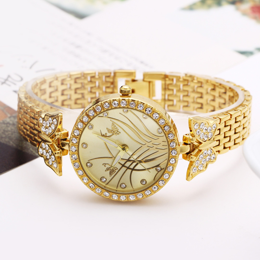 New arrival Elegant ladies Wrist Watch Pretty Butterfly Design Timepiece for Women Top Quality Crystal Case free shipping 3