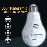 Bulb Light Wireless IP Camera Wi Fi FishEye 1 3MP 2 0MP 360 Degree Full View