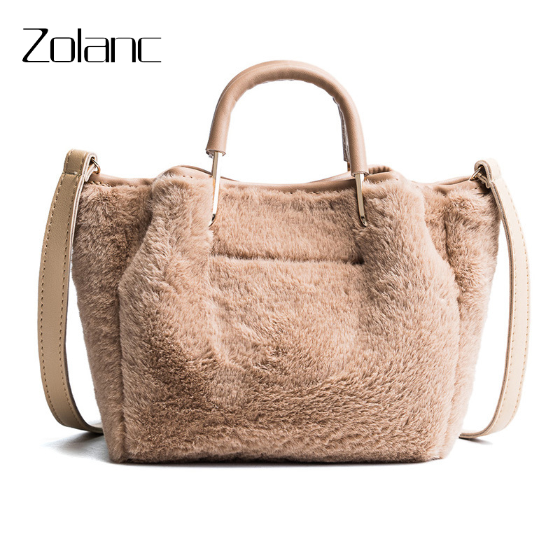 Zolanc 2018 Winter Autumn Plush Shoulder Bags Solid Hard Handle Sweet Lady Bucket Bag Shoulder Strap Fashion Women Messenger Bag