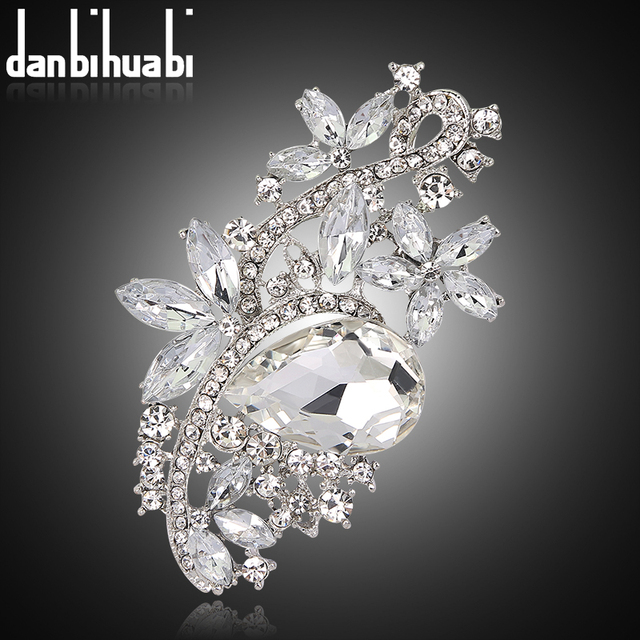danbihuabi brand Brooches for women crystal large Brooch Rhinestone Bouquet wedding accessories jewelry lapel pin
