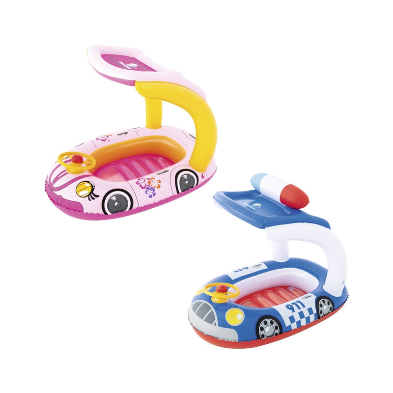 Inflatable Kiddie Car Boat Float With Shade Horn Swim Water Toys Fun Pool Floats Inflatable Raft Buoy Boia Piscina