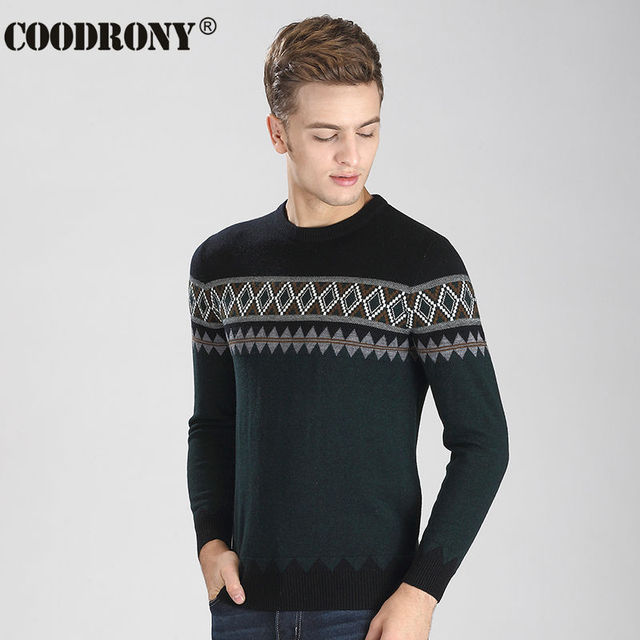 Free Shipping 2016 New Autumn Winter Thick Warm Merino Cashmere Wool Sweater Men Fashion Hit Color O-Neck Pullover Men Pull 6312