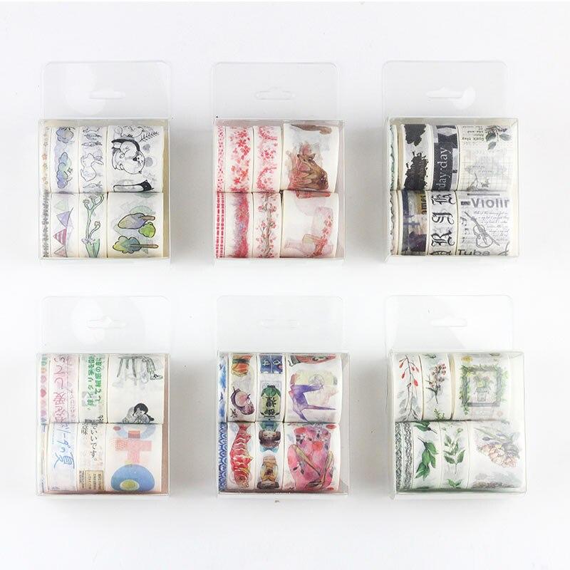 ><font><b>8Pcs</b></font>/lot Fall Decorative Paper Flower Sea Bid Washi Tape <font><b>Set</b></font> <font><b>Japanese</b></font> Stationery <font><b>Kawaii</b></font> Scrapbooking Supplies Stickers