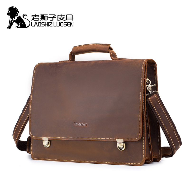 LAOSHIZI Business Genuine Leather Men's Hasp Handbags Shoulder Bag Male Fashion Office Bags Crazy Horse leather Vintage Handbags-in Top-Handle Bags from Luggage & Bags    1