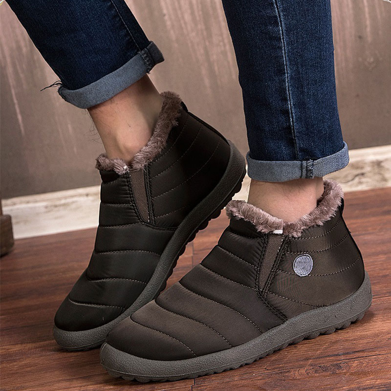 Men Boots Shoes Winter Solid Color Ankle Boots Snow Boots Cotton Inside Antiskid Bottom Work Shoes mens boots casual Keep Warm