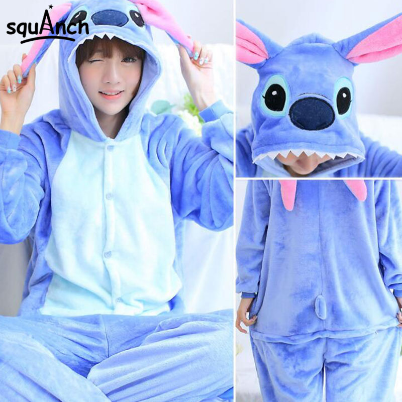 Stitch Onesies Cartoon Animal Kugurumi Ault Men Women Blue Cute Pajama Carnival Festival Couple Overall Winter Warm Flannel Sui