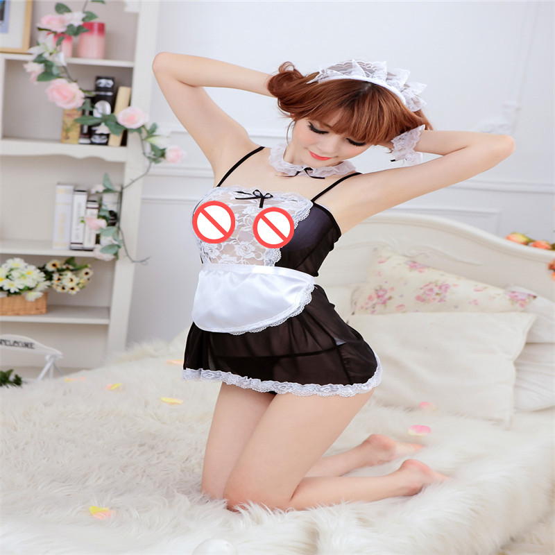 Sexy lingerie black seduction maid outfit Sexy dew PP transparent strap fun pajamas with T pants