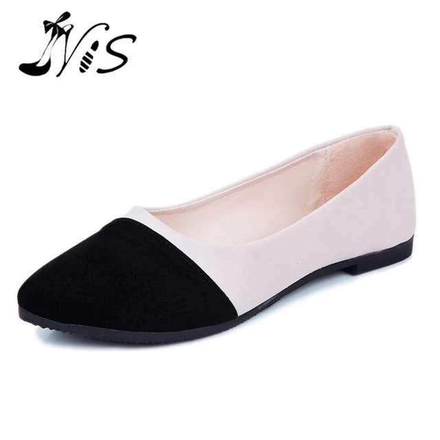 8f3d8b4220be9 NIS Women Patchwork Pointed Toe Ballerina Flats, 5 Colors Flock Ballet Slip  On Flat Shoes