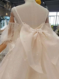 Image 5 - LSS402 detachable train wedding dresses with big bow spaghetti straps wedding gown with removable train back платье винтаж