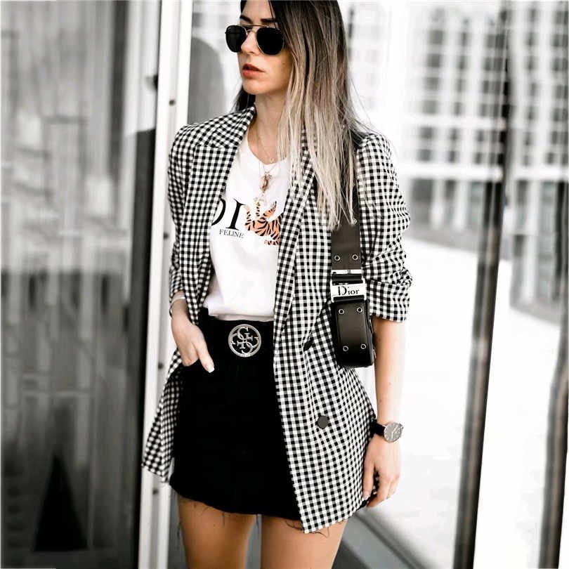 Women vogue plaid blazer checkered notched collar long sleeve back split pockets elegant female office wear blazers tops