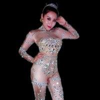 Bling Кристаллы Комбинезоны для малышек блесток комбинезон костюм Бейонсе танец горный хрусталь боди Трусики бикини Для женщин DJ певица Этап