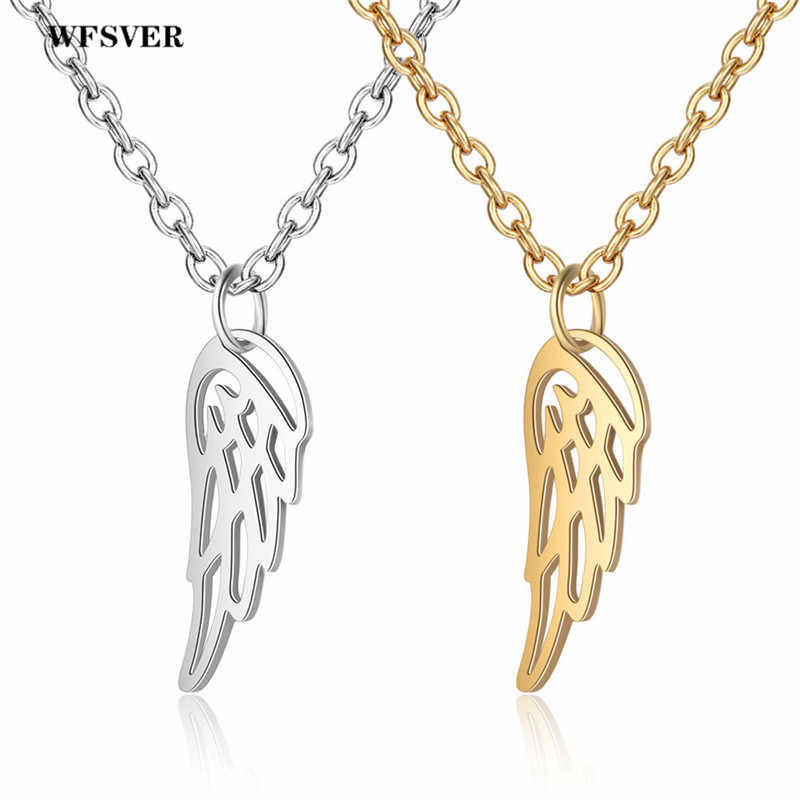 WFSVER Angel Wings Pendant Necklace Gold Silver Color For Women Diy Handmade Stainless Steel Necklace Friendship Jewelry Gift