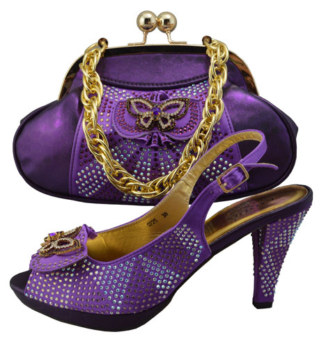 Здесь можно купить  GF25 Elegant purple African Woamn Shoes And Bag Sets Fashion African Sequins Wedding Shoes With Matching Bag On Promotion  Обувь