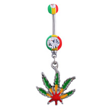 1p/lot Green Maple Leaf Navel Piercing Belly Button Pircing Industrial Percing Nombril Pircing