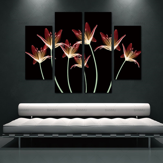 Canvas Painting Pictures Home Decoration Wall poster For Living Room 4 Pcs Lily Tracery wall painting Flower no frame