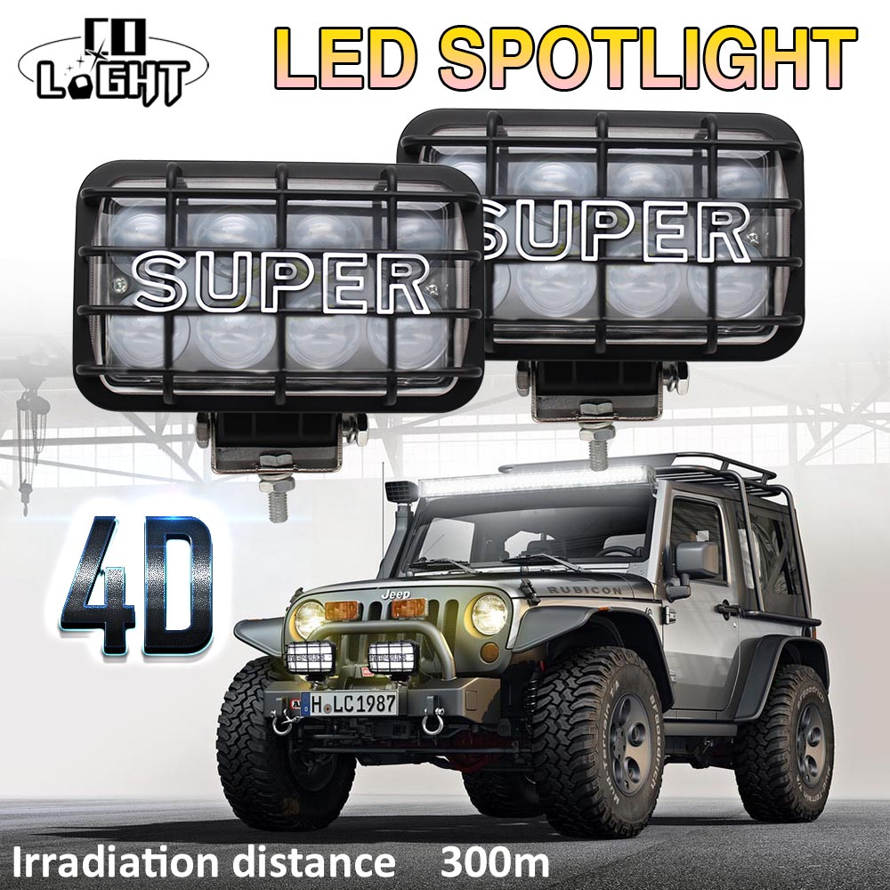 CO LIGHT 4D 80W 4X6Inch Led Work Lights Led 12V 24V 6500K Spot Led Beams for Auto 4Wd 4X4 Lada UAZ Toyota Jeep Ford SUV ATV BMW auto parts power steering pump 44310 0k040 for toyota hilux 2 5 d 4wd d 4d d 4d 4wd 2005 2013 guaranteed 100%
