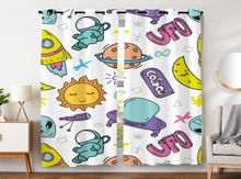 Blackout Curtains 2 Panels Grommet for Bedroom UFO Telescope Rocket Sun Cartoon Outer Space Boy